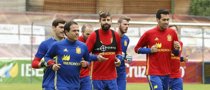 Javier Miñano con la Selección de España